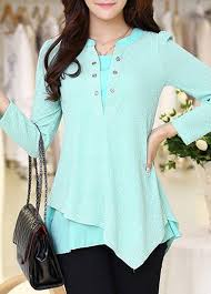 blouses sale cyan asymmetric hem sleeve patchwork blouse on sale only us