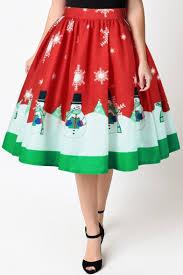 christmas skirt high waist christmas snowman pattern midi a line flared skirt