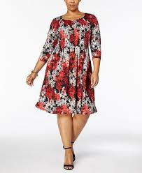 ny dress ny collection plus size printed knit a line dress dresses