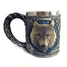 3d stainless steel mug wolf head