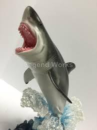 Shark Home Decor Leaping Great White Shark Sculpture Figure Statue Home Decor