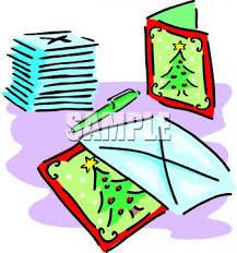 christmas cards and envelopes royalty free clipart picture