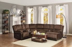 Eli Cocoa Reclining Sofa Nailhead Trim Leather Reclining Sectional Sofa With Full Sleeper