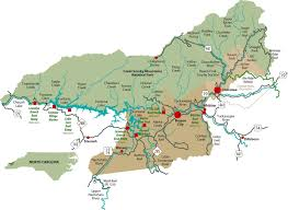 Nc Counties Map Bryson City Nc Area Fishing Map For The Smokies Including