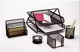 craftdev set of 5 stationery set desk organiser set mesh office
