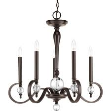Progress Lighting 5 Light Chandelier Progress Lighting Cherish Collection 5 Light Antique Bronze Linear