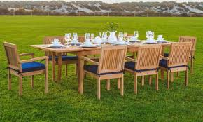 Teak Outdoor Dining Table And Chairs Wholesaleteak 9 Piece Grade A Teak Outdoor Dining Set With 94
