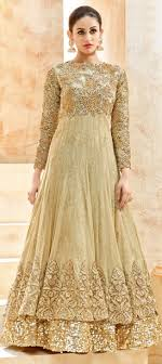 anarkali wedding dress 496654 beige and brown color family unstitched anarkali suits