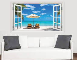window scenes stickers on your wall beach window scene wall stickers living room kitchen bedroom decal mural transfers