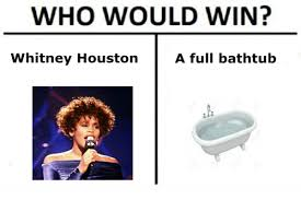 Whitney Houston Memes - who would win a full bathtub whitney houston whitney houston meme
