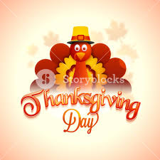 cute turkey bird on glossy background for happy thanksgiving day