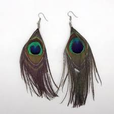 feather earring peacock feather earrings ebay