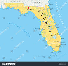 State Map With Capitals by Florida Political Map Capital Tallahassee Borders Stock Vector