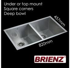 Deep Double Kitchen Sink by Kitchen Laundry Sink Hand Made Double Bowl 820mm X 457mm Square
