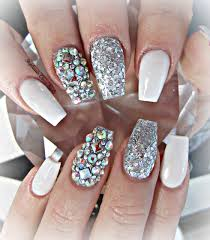 white and silver coffin nails nails pinterest coffin nails
