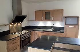 cuisine montauban cuisine façade chêne moderne avec plan de travail granit photo