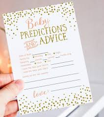 advice to the cards baby predictions and advice card printable and gold