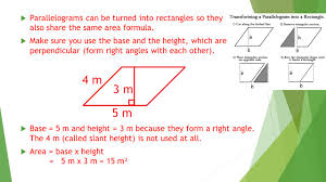 Area Formula by Area Of Squares Rectangles Parallelograms And Triangles Ppt