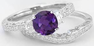 amethyst engagement ring sets amethyst engagement ring with vintage styling in 14k white