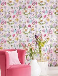 wallpaper larentia pastel rose blue lilac fern green light