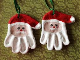 print santa ornaments from flour salt water ribbon and