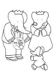 babar king with family coloring pages for kids printable free