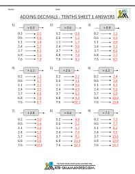 decimal math worksheets addition