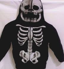 halloween full mask hoodie jacket boys size 4 5 skeleton skull