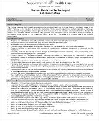 Nuclear Medicine Technologist Resume Examples by Medical Technologist Job Description Sample 6 Examples In Word Pdf