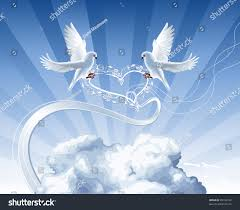 white doves roses wreath live clouds stock vector 49302742