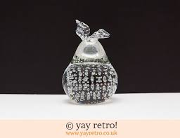glass pear ornament paper weight vintage shop retro china