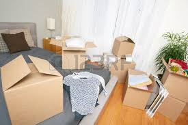 Chair Boxes Moving Moving Boxes In New House Real Estate Concept Stock Photo
