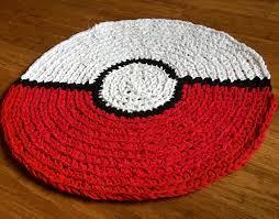 5ft Round Rug by Pokemon Go Ball Rug Mat Handmade Crochet Round Rug Area Mat