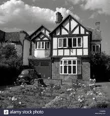 1950s historical picture of mock tudor english suburban house