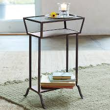 Glass Side Table by Rectangular Glass U0026 Iron Table Robert Redford U0027s Sundance Catalog