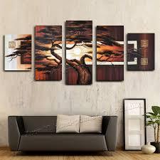 aliexpress com buy hand painted wall art tree sunshine red sun