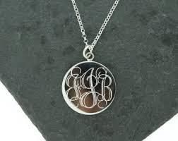 monogram disc necklace monogram disc etsy