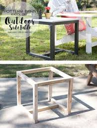outdoor furniture side table diy x brace side table w concrete top free easy plans pottery