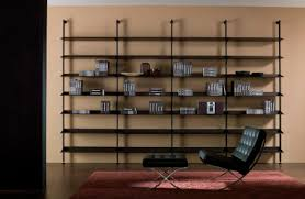 cheap family room design with brown wood bookshelves target