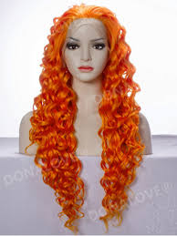 orange waist length curly synthetic wig sny010 synthetic