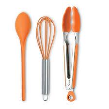 coffret ustensile cuisine 3 ustensiles de cuisine orange 1 fouet 1 pinces 1 cuillère en coffret