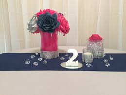 4x4 Glass Vase Navy Blue Pink And Silver Wedding Table Centerpieces Handmade