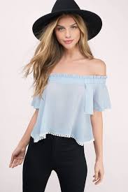 light blue off the shoulder top rose top off shoulder top periwinkle top 9 tobi ie