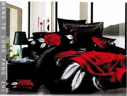 Red Bedroom Comforter Set Red Rose Black Full Bedding Quilt Duvet Comforter Cover For Sale