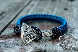 bracelet handmade jewelry images Sterling silver viking axe blue paracord bracelet handmade jewelry jpg
