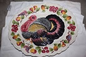 ceramic turkey platter vintage ceramic painted turkey platter made in italy pottery