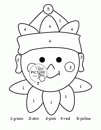 color by number cute elf coloring page for kids education
