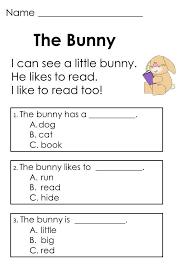kindergarten reading passage reading comprehension picmia