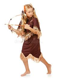 thanksgiving indian with bow and arrow stock photo