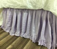 lavender linen bed skirt with ruffle hem romantic and pretty